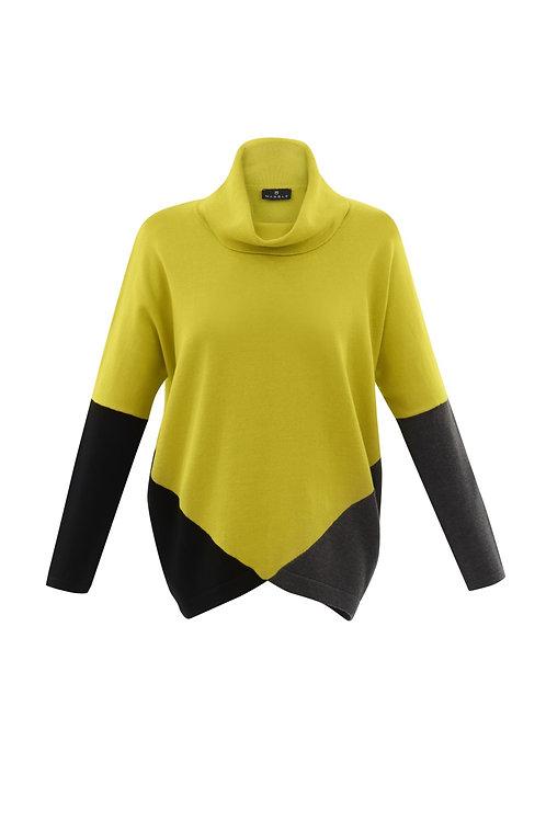 Marble 5886 block colour cowl neck knit