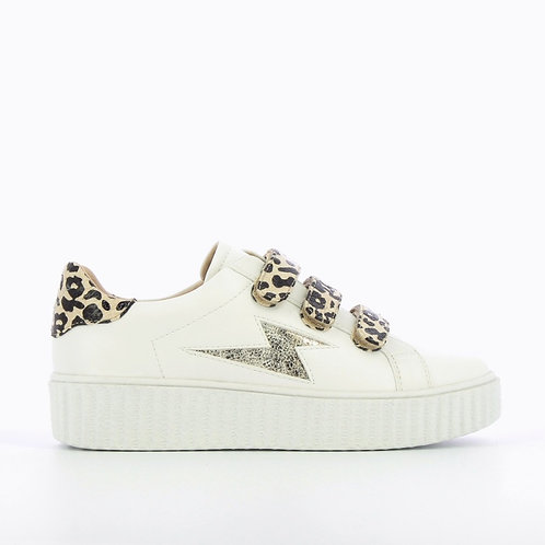 Vanessa Wu -  WHITE SNEAKERS WITH LIGHTNING CUTOUT AND LEOPARD-PRINT VELCRO