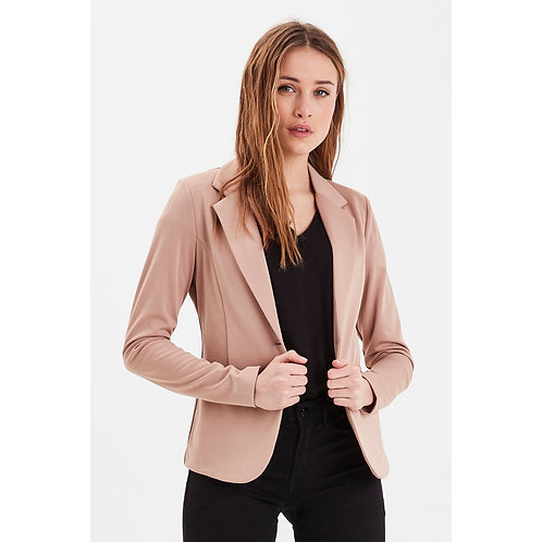 ICHI - Long Sleeve Plain Blazer - Beige