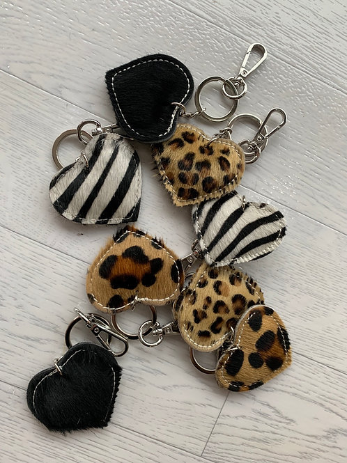 Animal faux fur & leather keyrings