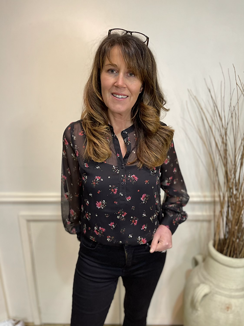 French Connection - Floral sheer blouse