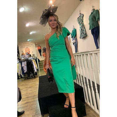 Kevan Jon - ' KRYSTLE' Bow One Shoulder Knee Dress - Green