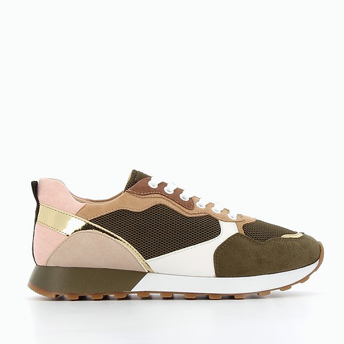 Vanessa Wu - 2305 Khaki green and beige track sole sneakers