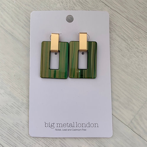 Big metal - Khaki square earrings