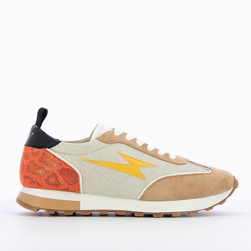 Vanessa Wu - Beige lightning track-sole sneakers