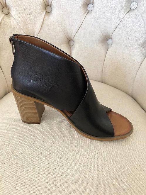 Carmela - Black peep toe ankle boots