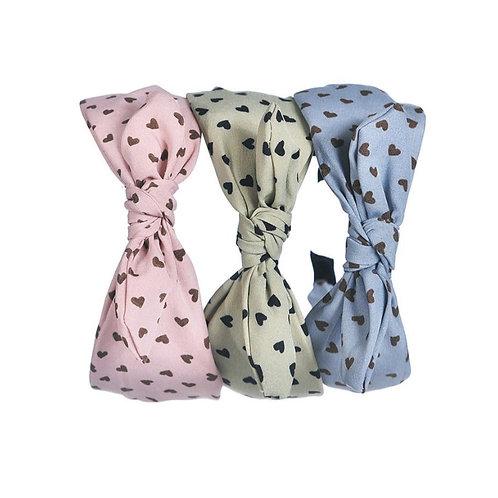 Pastel heart bow headband