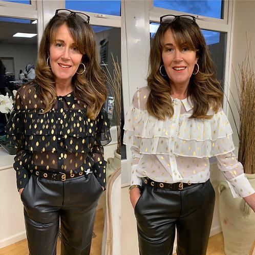 Jovonna - Gold spot frill blouse