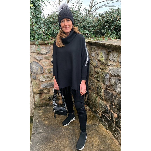 Malissa j - Roll neck poncho style jumper with  stud tape detail