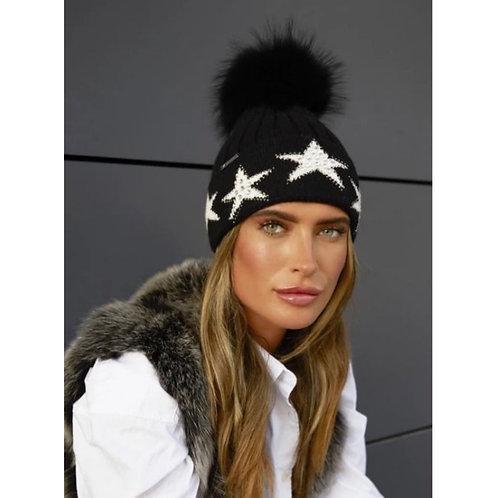 Luxy London - PHOENIX STAR EMBELLISHED POM POM HAT - BLACK