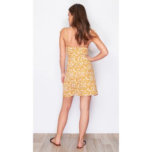 cbf7d614105 Cup Detail Tie Strap Ditsy Mini Dress Mustard