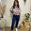 Thumbnail: Balloon print puff sleeve blouse