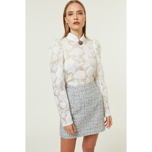 Jovonna - LUPITA  Semi sheer applique shirt