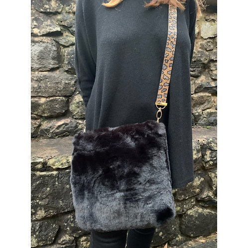 Malissa J - Faux Fur bag with bling straps