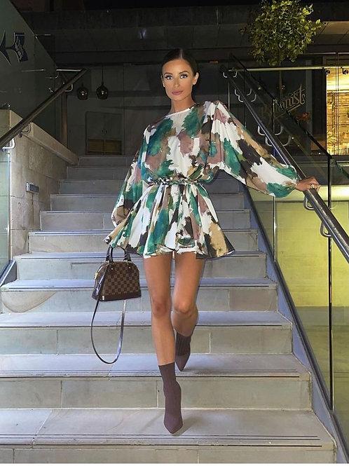 Smudge print satin swing dress