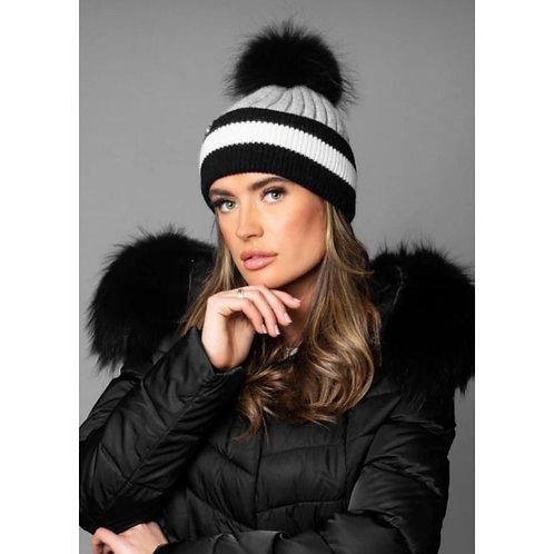 Luxy  London - HENLEY TRI- COLOUR POM POM HAT - GREY/BLACK