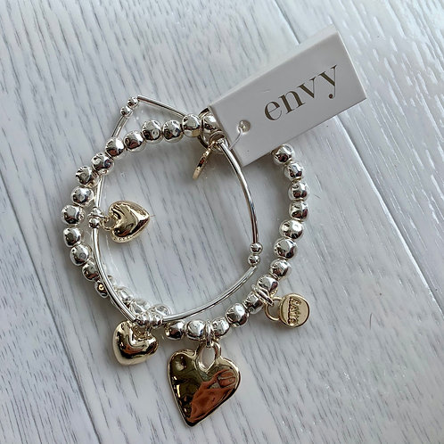 Envy - Gold & Silver heart layer bracelet
