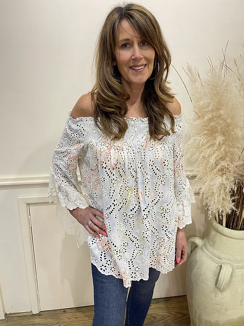 Broderie Anglaise off the shoulder top