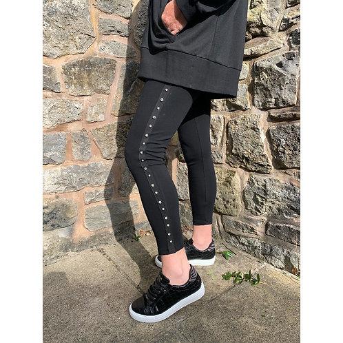 Malissa J - black bling tape legging