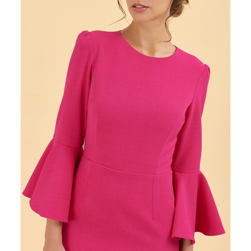 48e321c331 'GIA' Flare sleeve midi dress - Raspberry