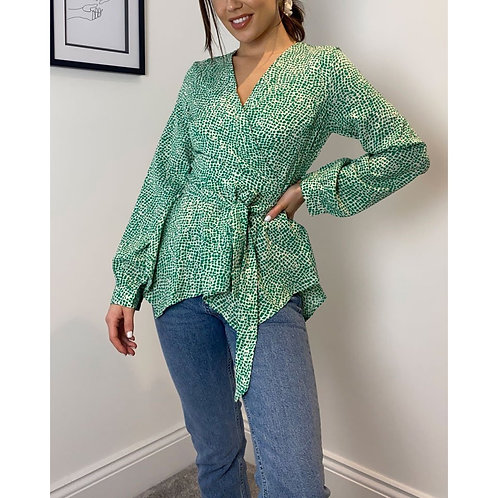 Girl in Mind - Printed wrap style top