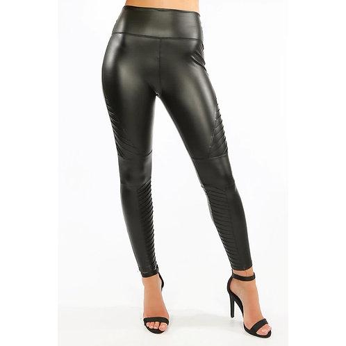 Faux leather biker leggings