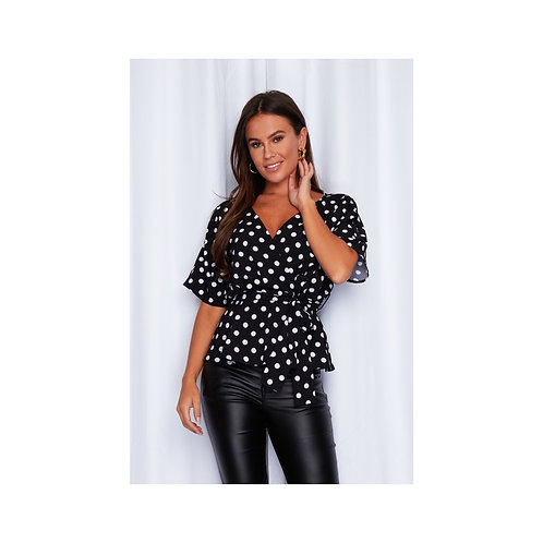 Girl in mind spot tie waist top