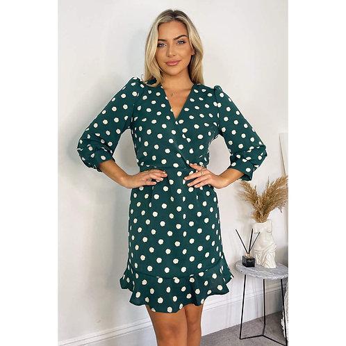 DA1062 - Green spot print dress