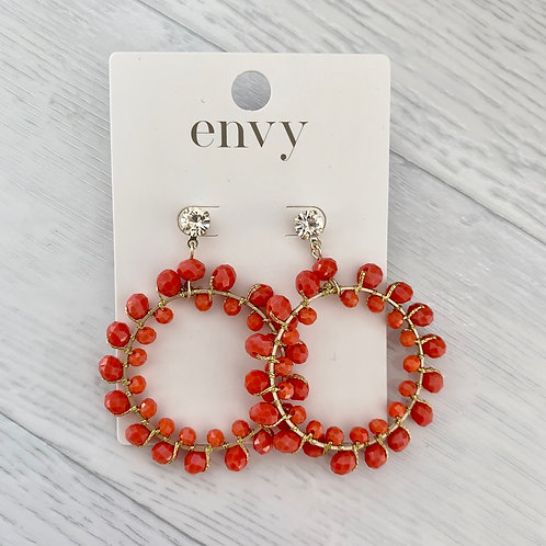 Envy - Beaded hoop drop earrings - Orange