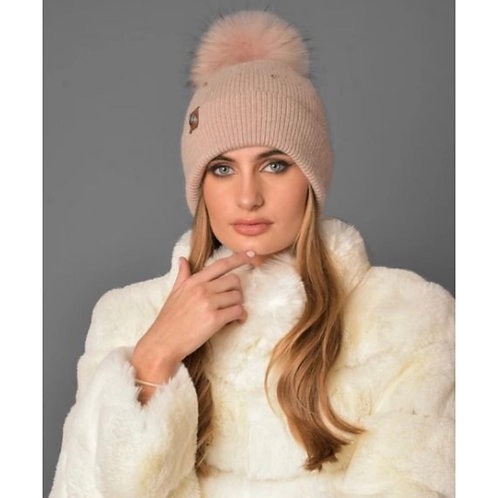 Luxy London - ELVIE POM POM HAT - BLUSH