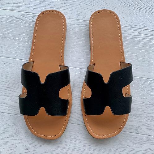 'H' sandal  - Black