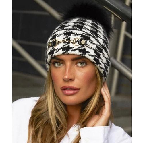 Luxy London - LEXINGTON POM POM HAT - BLACK/WHITE