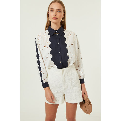 Jovonna - BEL ROSE lace effect panel shirt