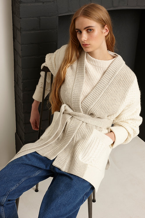 French Connection - Belted chunky cardi