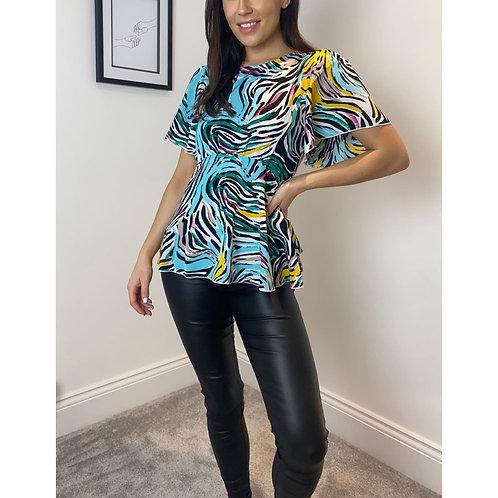 Girl in Mind - Multi zebra print top