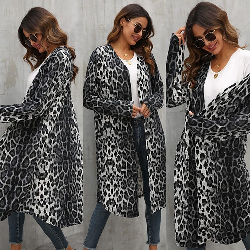 Grey leopard long sleeve cardi