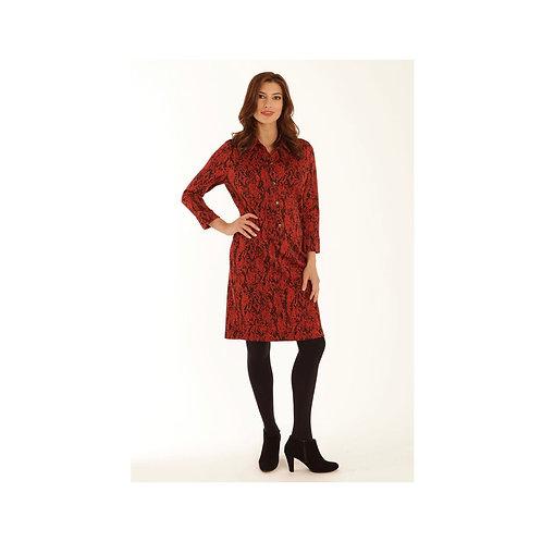 Pomodoro - coloured snake shirt dress