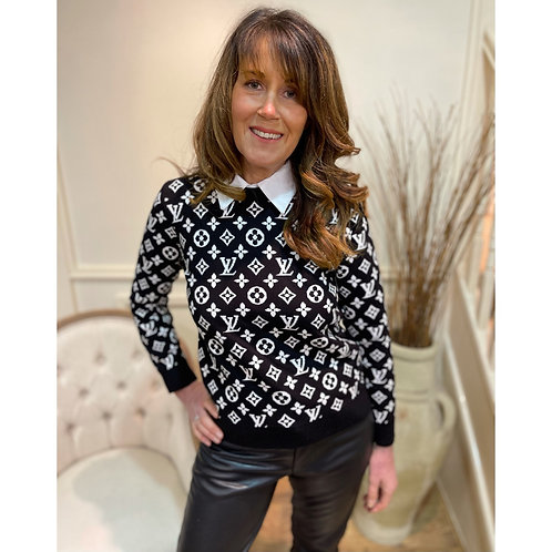 Black and White printed jumper