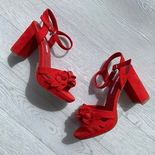 XTI - Flower appliqué sandal - Red
