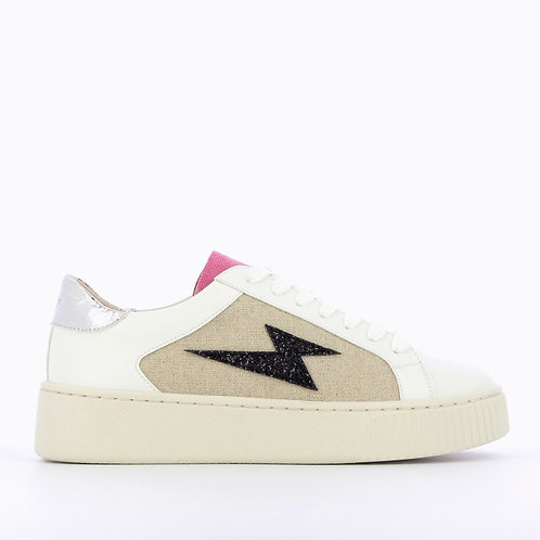 Vanessa Wu - Tweed lightning sneakers with laces