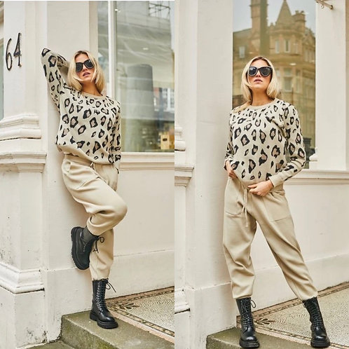 Libby Loves - Two piece leopard lounge wear set