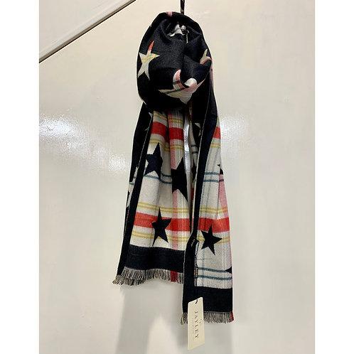 Jayley - Star/Tartan print reversible scarf