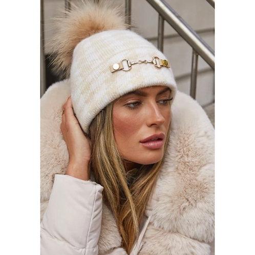 Luxy London - LEXINGTON POM POM HAT - BEIGE/ECRU