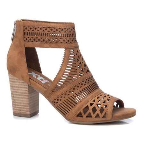XTI - Cut out peep toe shoe boot tan