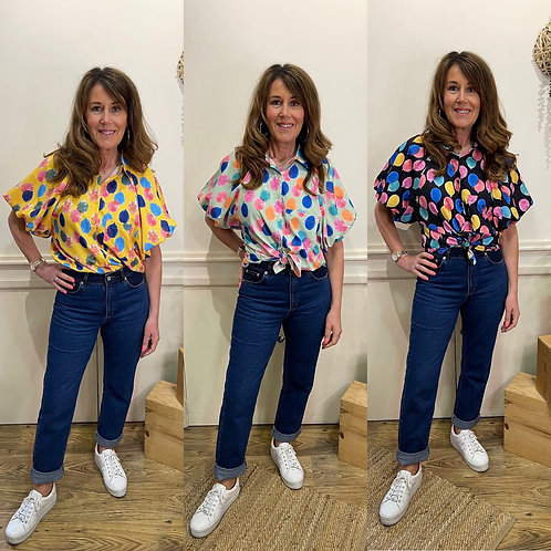 Balloon print puff sleeve blouse
