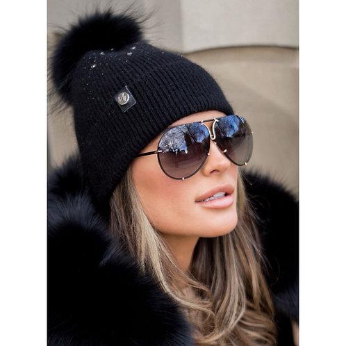Luxy London - ELVIE POM POM HAT - BLACK