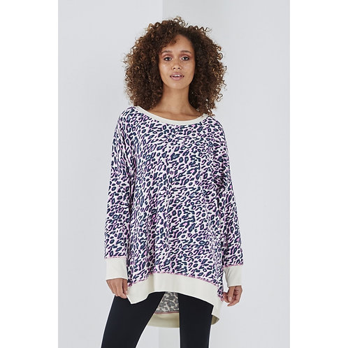 Sundae tee - Lulu animal print long line sweat