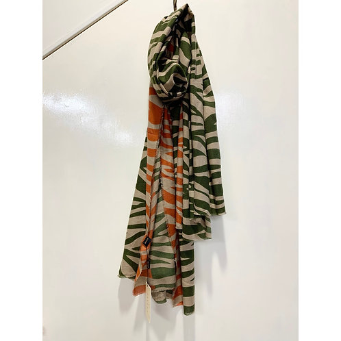 Jayley - Tiger print two tone scarf