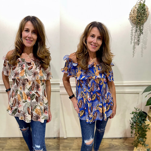 Printed Pleat off the shoulder top