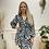 Thumbnail: Zebra print v.neck dress - Turquoise